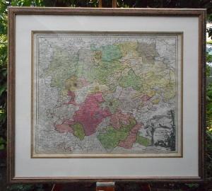 Einrahmung einer alten Landkarte von Thüringen