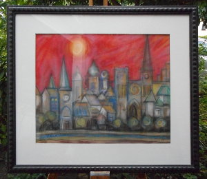 Gerahmtes Pastellbild einer Stadtsilhouette von Hans-Georg Strauch