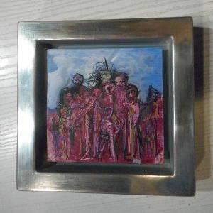 Gemälderahmen für ein sehr kleines Bild mit weißgoldener Schattenfugenleiste