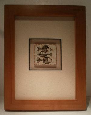 Elsbeer-Bilderahmen mit kleinem Fischmotiv