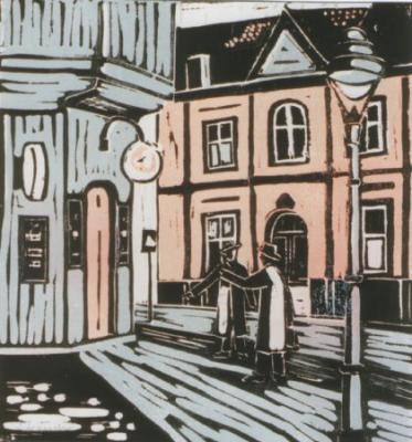 ehemalige Gaststätte Gastert in Mülheim a.d. Ruhr, Linolschnitt von Hans-Georg Strauch