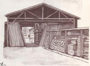 Alte Zeichnung einer Lagerhalle bei Vogt in Mülheim a.d. Ruhr
