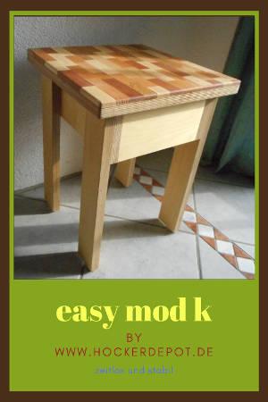 Ein Hocker konstruiert aus Birke-Multiplex und kleinen Massivholz-Stücken für die Sitzfläche.