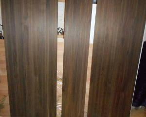3 kleinere Räuchereiche-Leimholzplatten mit durchgehenden Lamellen nebeneinander