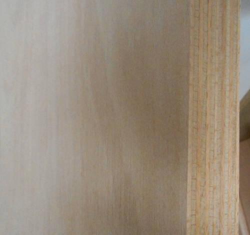 Buche-Multiplexplatte : Ansicht der Kante und des Deck-Furniers einer Seite