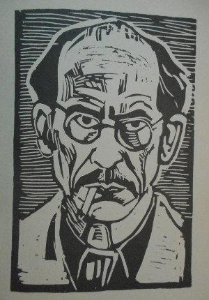 Hans Fischer - Selbstpotraet mit Zigarette