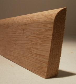 Fussleiste Modell S1260 aus massiver Eiche, 12 x 60 mm