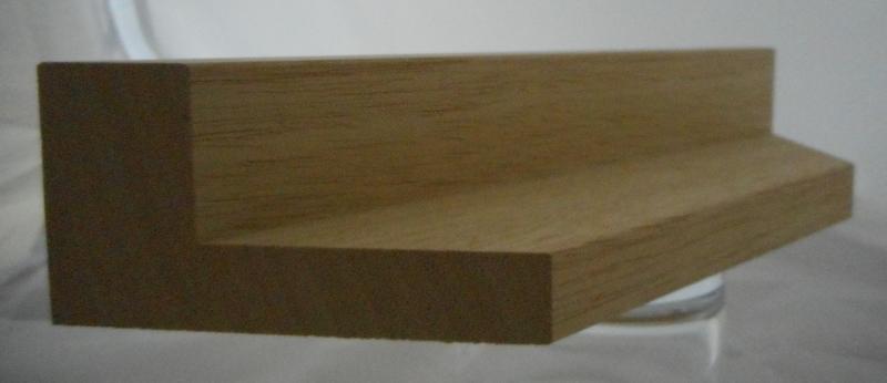 Ayous-Schattenfugenleiste 45mm hoch, 60mm breit, Ansicht 19mm