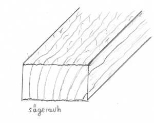 Eiche-Brett, sägerauh, besäumt, ca. 26mm stark, 100mm breit