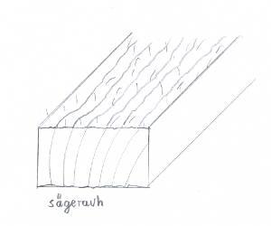 Buche-Brett, sägerauh, besäumt, ca. 26mm stark, 150mm breit
