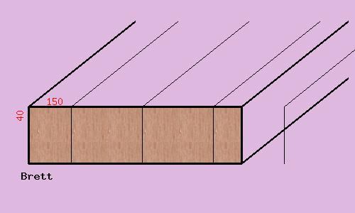 Lärche-Brett, 40mm stark, 150 mm breit,  aus mehreren durchgehenden Lamellen verleimt