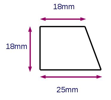 Meranti-Glasleiste Modell GL2518, 25x18mm, eine Seite schräg