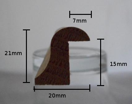 Profilskizze Eiche-Glasleiste Modell GL2021