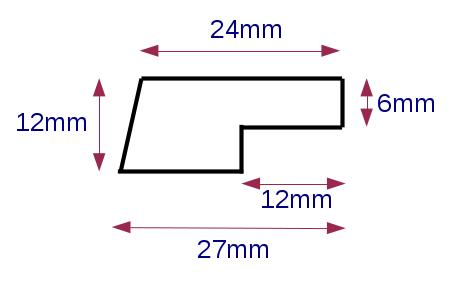 Meranti-Glasleiste Modell GL2712, 27x12 mm, Leiste mit Falz