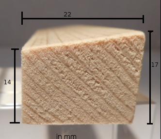 Kiefer-Glasleiste Modell GL2217, 22x17mm, abgeschrägtes Profil