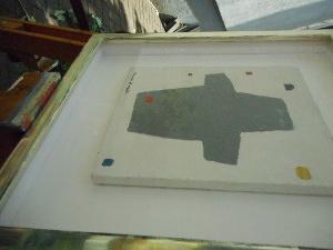 Einrahmung eines kleinen Bildes von Werner Graeff mit Abstandshalterleiste und Museumsglas