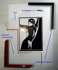 Typische Einrahmungs-Bestandteile eines Bildes auf Papier